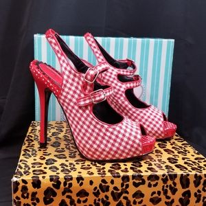 "Bettie Page ""Pinky"" Red and White Gingham Heels 6"